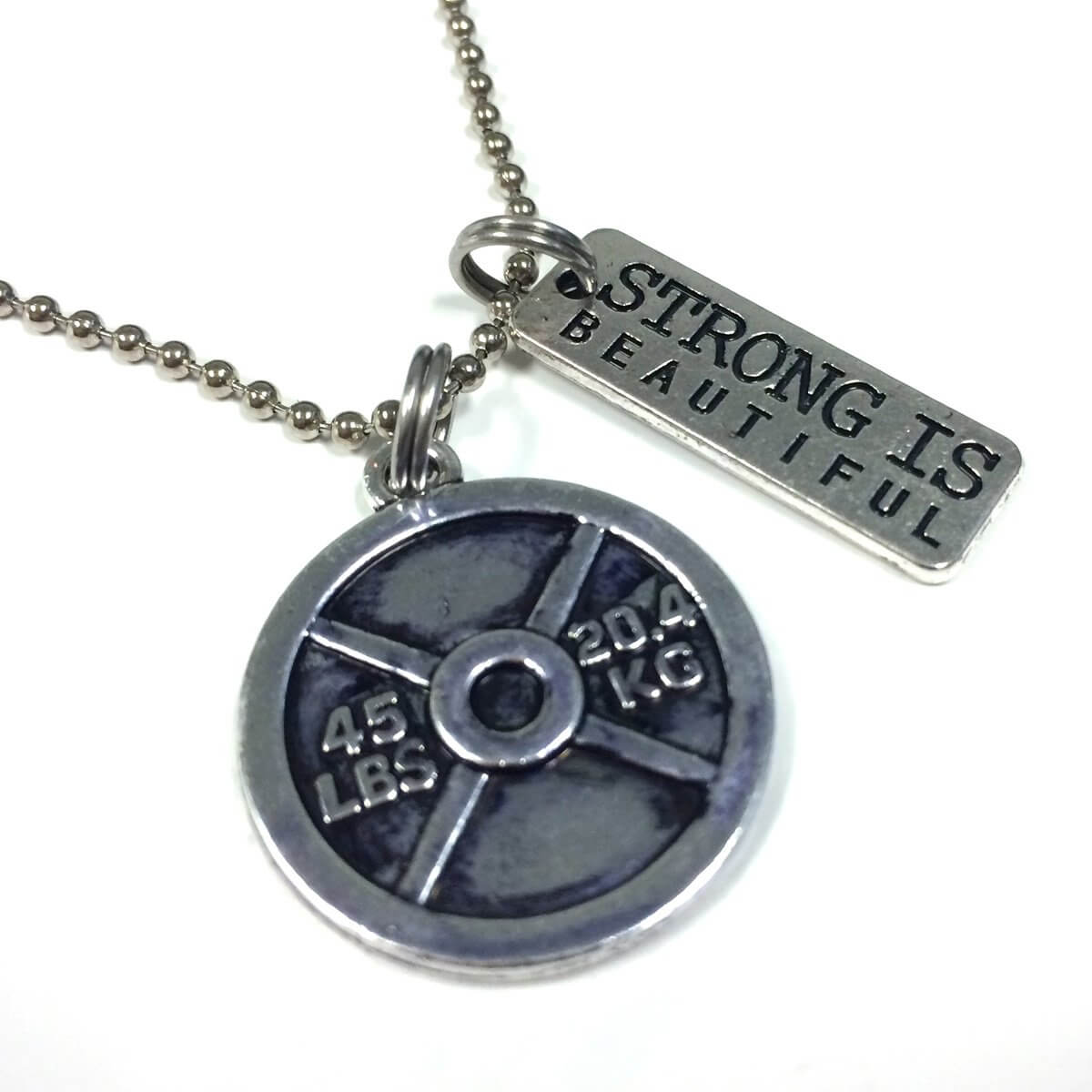 Plate Strong Is Beautiful Necklace
