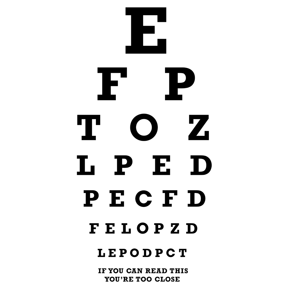 Too Close Eye Chart